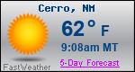 Weather Forecast for Cerro, NM