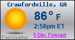 Weather Forecast for Crawfordville, GA