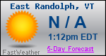 Weather Forecast for East Randolph, VT