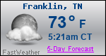 Weather Forecast for Franklin, TN