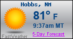 Weather Forecast for Hobbs, NM