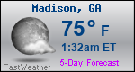 Weather Forecast for Madison, GA
