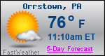 Weather Forecast for Orrstown, PA