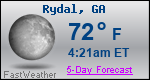 Weather Forecast for Rydal, GA